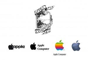 Obr. 06 – Geneze loga Apple. První verze loga zobrazující Newtona, jak mu padá jablko na hlavu, neměla přes svůj vhodný sémantický obsah sebemenší šanci na úspěch. Logo bylo natolik vizuálně složité, že si ho nemohl nikdo zapamatovat.