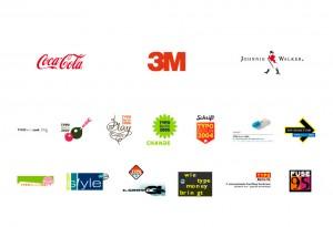 Obr. 04 – Ukázka dlouhodobě užívaných značek (Coca-Cola, 3M, Johnnie Walker) a značek krátkodobých (konference s názvem TypoBerlin mění své logo každoročně).
