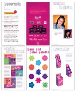 Ukázka z manuálu jednotného vizuálního stylu panenky Barbie. Důmyslná kombinace značek z volně psaného písma, veselých barev, květinových tvarů i dětských fotografií působí na holčičky celého světa jako magnet.